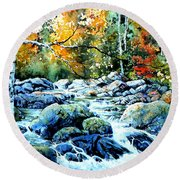 Round Beach Towel featuring the painting Polliwog Clearing by Hanne Lore Koehler