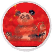 Pollution In China Round Beach Towel