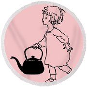 Polly Put The Kettle On Round Beach Towel