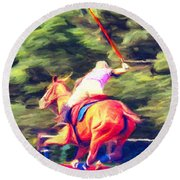 Polo Game 2 Round Beach Towel