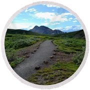 Polychrome Pass Trail, Denali Round Beach Towel by Zawhaus Photography