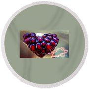 Round Beach Towel featuring the digital art Pomegranate Heart by Genevieve Esson