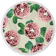 Pomegranate Pattern Round Beach Towel by Uma Gokhale