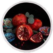 Pomegranate Power Round Beach Towel
