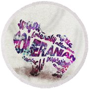 Round Beach Towel featuring the painting Pomeranian Dog Watercolor Painting / Typographic Art by Ayse and Deniz