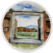 Pompeii Doorway Round Beach Towel by Clyde J Kell