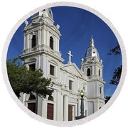 Ponce Cathedral Round Beach Towel