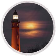 Round Beach Towel featuring the photograph Ponce De Leon Full Moon by Norman Peay