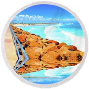 Ponce Inlet Jetty  Round Beach Towel