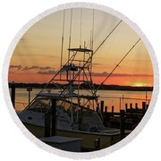 Ponce Inlet Sunset Round Beach Towel