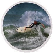 Round Beach Towel featuring the photograph Ponce Surfer 2017 by Deborah Benoit