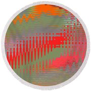 Round Beach Towel featuring the digital art Pond Abstract - Summer Colors by Ben and Raisa Gertsberg