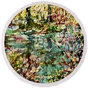 Pond And Beyond Round Beach Towel by Alfred Motzer