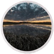 Pond And Sky Reflection1 Round Beach Towel