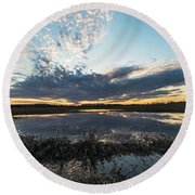 Pond And Sky Reflection2 Round Beach Towel