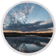 Pond And Sky Reflection3 Round Beach Towel