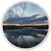 Pond And Sky Reflection3a Round Beach Towel