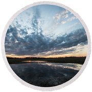 Pond And Sky Reflection4 Round Beach Towel