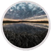 Pond And Sky Reflection5 Round Beach Towel