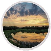 Pond And Sunset Round Beach Towel