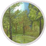 Round Beach Towel featuring the mixed media Pond by Angela Stout