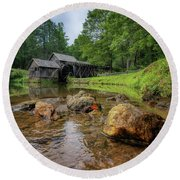 Pond At Mabry Mill Round Beach Towel