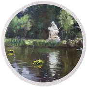 Pond At Our Lady Of Fatima Lewiston Round Beach Towel