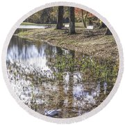Pond Bench Ponderings Round Beach Towel