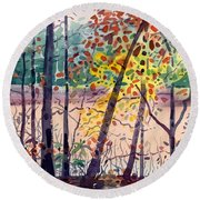 Pond In Fall Round Beach Towel