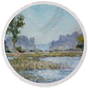 Pond In The Woods 1 Round Beach Towel