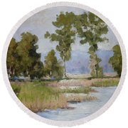 Pond In The Woods 2 Round Beach Towel