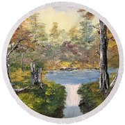 Pond In The Woods Round Beach Towel