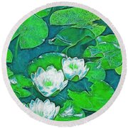 Pond Lily 2 Round Beach Towel by Pamela Cooper
