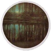 Pond Moonlight Round Beach Towel by Edward Steichen