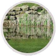 Pond Reflection Round Beach Towel