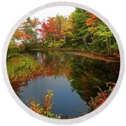 Pond Reflections In Autumn Round Beach Towel