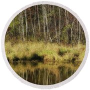Pond Reflections Round Beach Towel