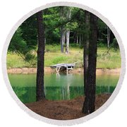 Round Beach Towel featuring the photograph Pond Side Dock by Rick Morgan