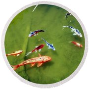 Pond With Koi Fish Round Beach Towel by Joseph Frank Baraba