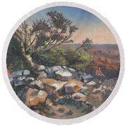 Pondering By The Canyon Round Beach Towel