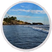 Round Beach Towel featuring the photograph Poneloya Beach Before Sunset by Nicole Lloyd