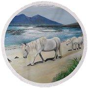 Ponies Of Muck- Painting Round Beach Towel