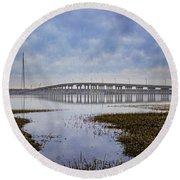 Ponquogue Bridge Hampton Bays Ny Round Beach Towel