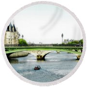 Pont Au Change Over The Seine River In Paris Round Beach Towel