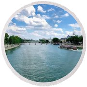 River Seine At Pont Du Carrousel Round Beach Towel