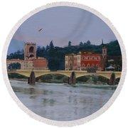 Pont Vecchio Landscape Round Beach Towel by Lynne Reichhart