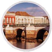 Ponte Romana And River Gilao- Tavira Round Beach Towel