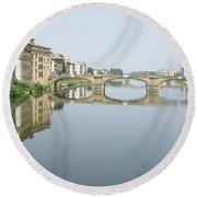 Ponte Santa Trinita On River Arno Round Beach Towel