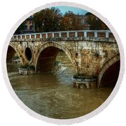 Ponte Sisto Bridge Rome Round Beach Towel