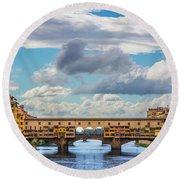 Ponte Vecchio Clouds Round Beach Towel